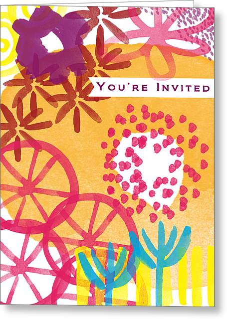 Party Greeting Cards - Spring Floral Invitation- Greeting Card Greeting Card by Linda Woods