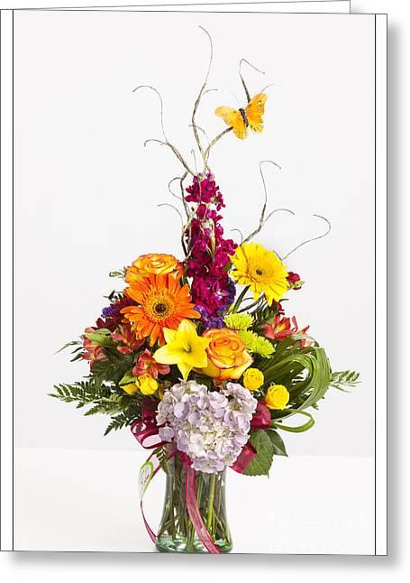Vase Framed Prints Greeting Cards - Spring Flower Arrangement 8053.02 Greeting Card by M K  Miller