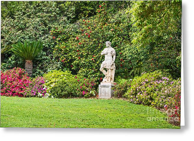 Greek Sculpture Greeting Cards - Spring flower blooms at the North Vista Lawn of the Huntington Library. Greeting Card by Jamie Pham
