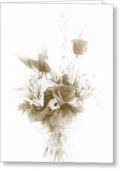 Photographs Pastels Greeting Cards - Spring flower Pastel Paint arrangement in Sepia 3176.01 Greeting Card by M K  Miller