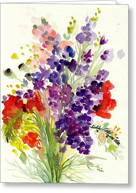 Violett Greeting Cards - Spring Flowers Bouquet - Floral Watercolor Greeting Card by Tiberiu Soos