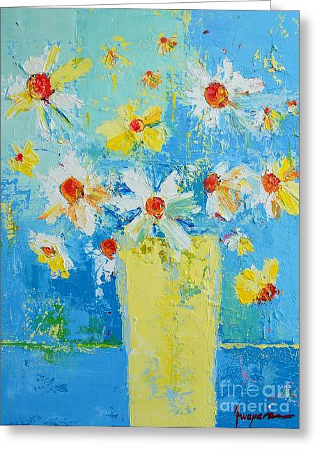 Art In Acrylic Greeting Cards - Spring Flowers Daisies Greeting Card by Patricia Awapara
