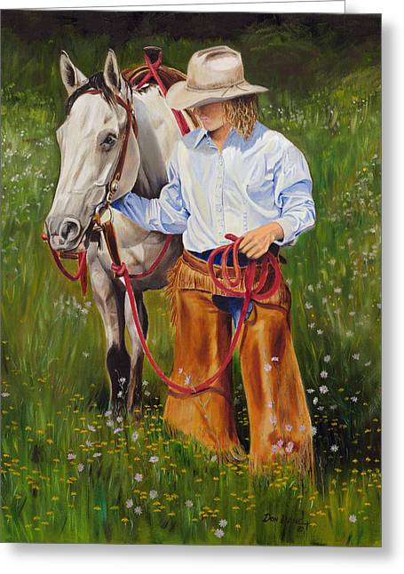 Cowgirl Greeting Cards - Spring Flowers Greeting Card by Don Dane