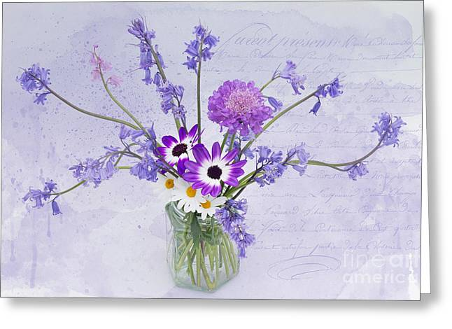 Pericallis Senetti Greeting Cards - Spring Flowers in a Jam Jar Greeting Card by Ann Garrett