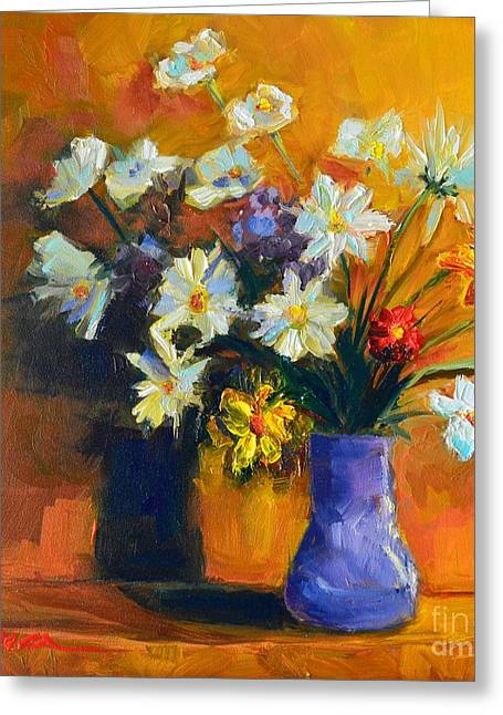 Sienna Greeting Cards - Spring Flowers in a Vase Greeting Card by Patricia Awapara