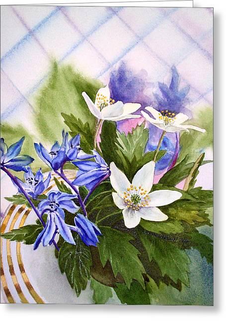 Cards Vintage Greeting Cards - Spring Flowers Greeting Card by Irina Sztukowski