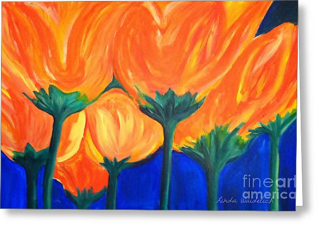 Above The Sofa Art Greeting Cards - Spring Flowers Greeting Card by Linda Waidelich