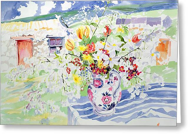 Cheery Greeting Cards - Spring Flowers on the Island Greeting Card by Elizabeth Jane Lloyd