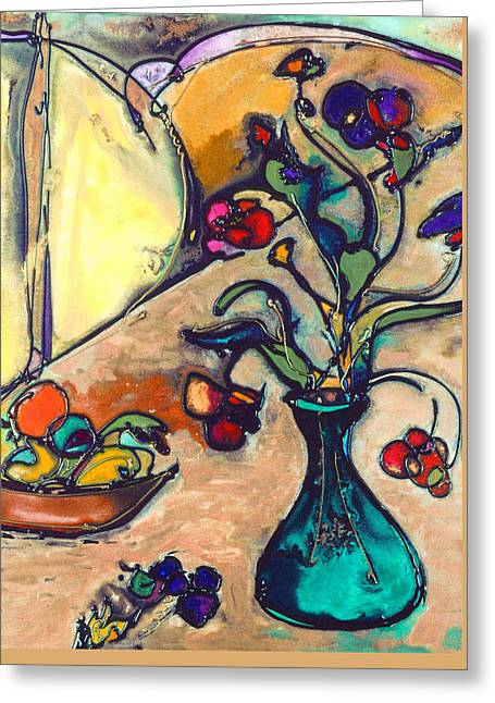 Fruit And Wine Mixed Media Greeting Cards - Spring Flowers Greeting Card by Twyla Gettert