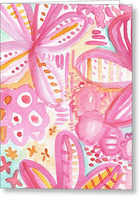 Teen Greeting Cards - Spring Flowers- Watercolor Painting Greeting Card by Linda Woods