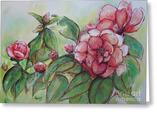 Dew Pastels Greeting Cards - Spring Flowers Wet with Dew Drops Original Canadian Pastel Pencil Greeting Card by Aeris Osborne