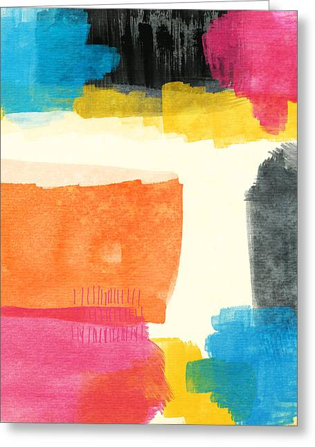 Bold Color Greeting Cards - Spring Forward- Colorful Abstract Painting Greeting Card by Linda Woods