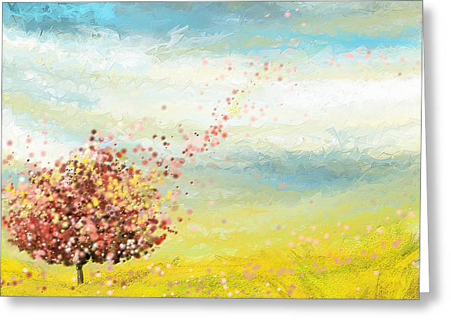 Beauty In Nature Paintings Greeting Cards - Spring-Four Seasons Paintings Greeting Card by Lourry Legarde