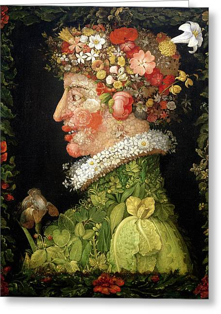 Face Photographs Greeting Cards - Spring, From A Series Depicting The Four Seasons, 1573 Oil On Canvas Greeting Card by Giuseppe Arcimboldo