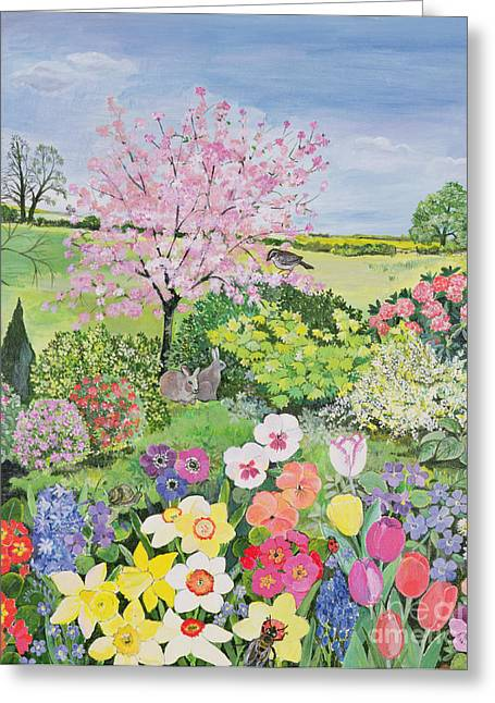 Hyacinth Greeting Cards - Spring from the Four Seasons  Greeting Card by Hilary Jones