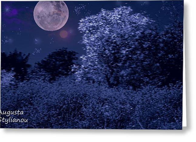 Star Valley Greeting Cards - Spring Full Moon Greeting Card by Augusta Stylianou