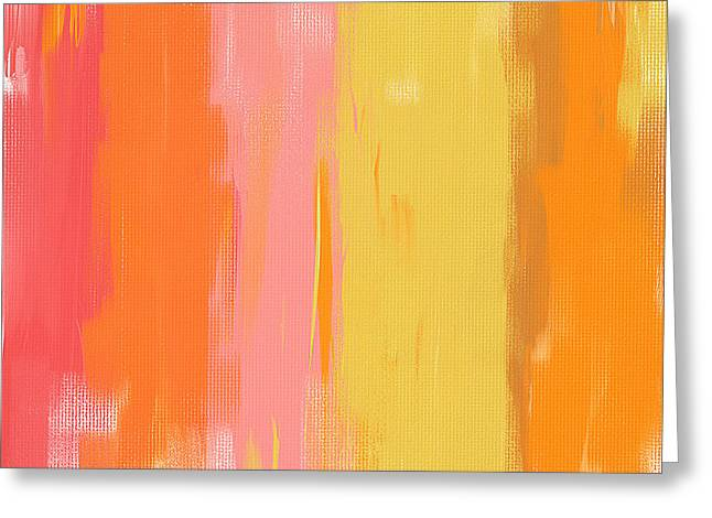 Blue And Orange Abstract Art Greeting Cards - Spring Garden Greeting Card by Lourry Legarde