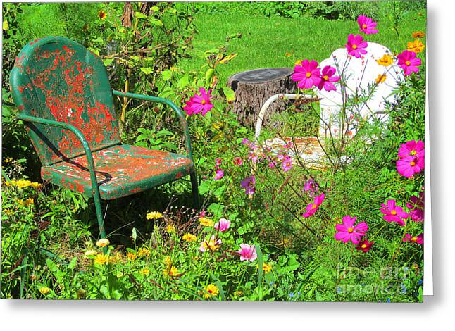 Lawn Chair Greeting Cards - Summer Garden Greeting Card by Tina M Wenger