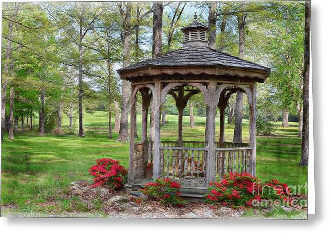 Azalias Greeting Cards - Spring Gazebo pastel effect Greeting Card by Debbie Portwood