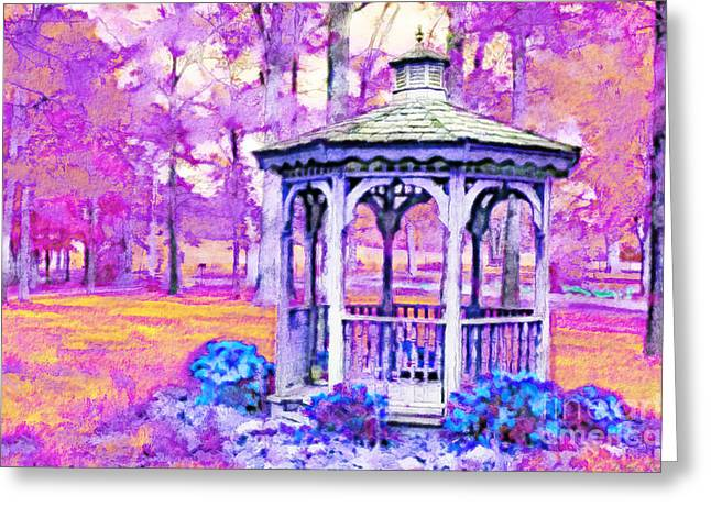 Gazebo Wall Art Greeting Cards - Spring Gazebo series - Digital Paint V Greeting Card by Debbie Portwood