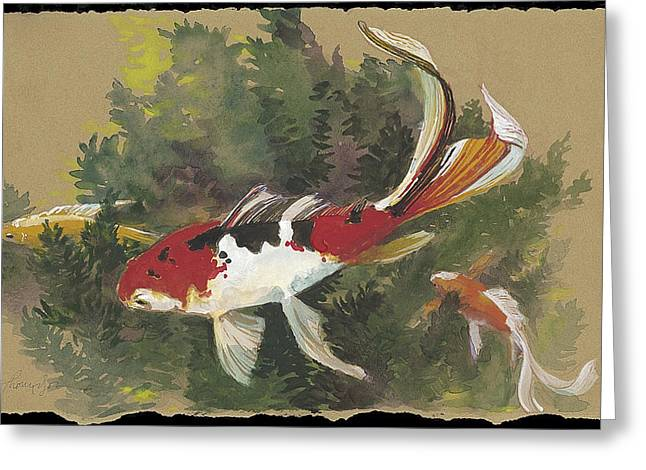 Fish Pond Greeting Cards - Spring Goldfish II Greeting Card by Tracie Thompson