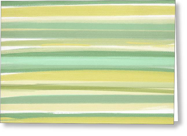 Light Blue Gray Greeting Cards - Spring Green Greeting Card by Lourry Legarde