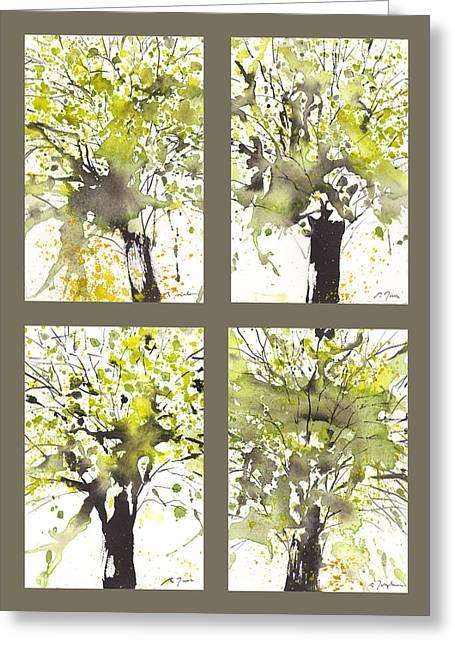 Millbury Greeting Cards - Spring Green Greeting Card by Sumiyo Toribe