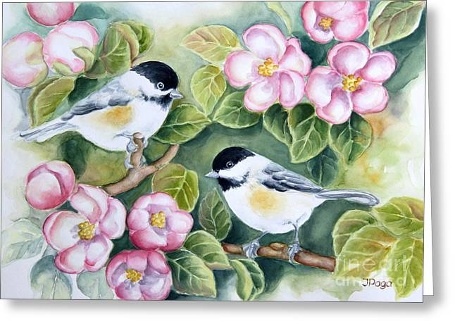 Chickadee Greeting Cards Greeting Cards - Spring Greetings Greeting Card by Inese Poga