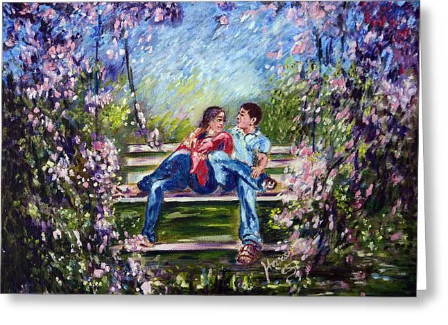 Garden Scene Digital Greeting Cards - Spring Greeting Card by Harsh Malik