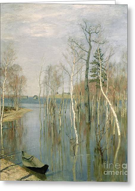 Floods Greeting Cards - Spring High Water Greeting Card by isaak Ilyich Levitan