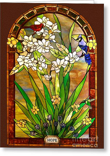 Animals Glass Art Greeting Cards - Spring-Hope Greeting Card by John Emery