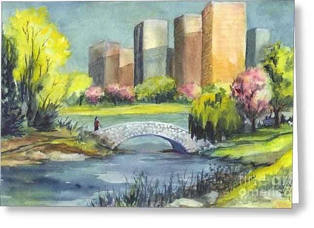 Park Scene Drawings Greeting Cards - Spring  in Central Park N Y C  Greeting Card by Carol Wisniewski