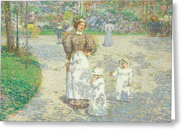 Matron Greeting Cards - Spring in Central Park Greeting Card by Childe Hassam