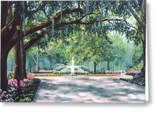 Savannahs Greeting Cards - Spring In Forsythe Park Greeting Card by Stanton Allaben