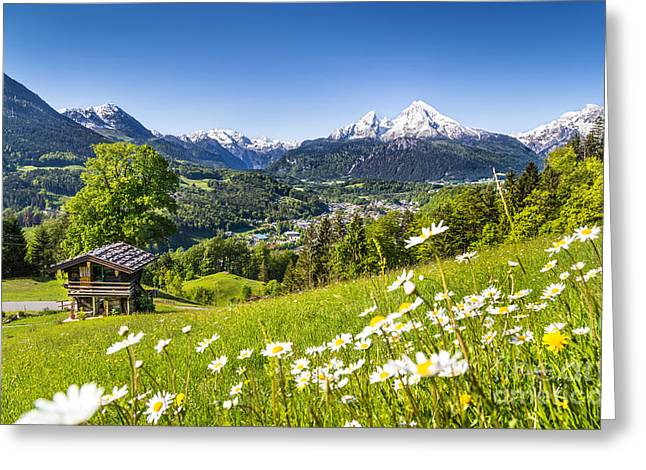 Oberbayern Greeting Cards - Spring in the Alps Greeting Card by JR Photography