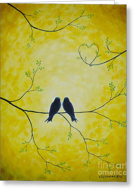 Harmonious Paintings Greeting Cards - Spring is a time of love Greeting Card by Veikko Suikkanen