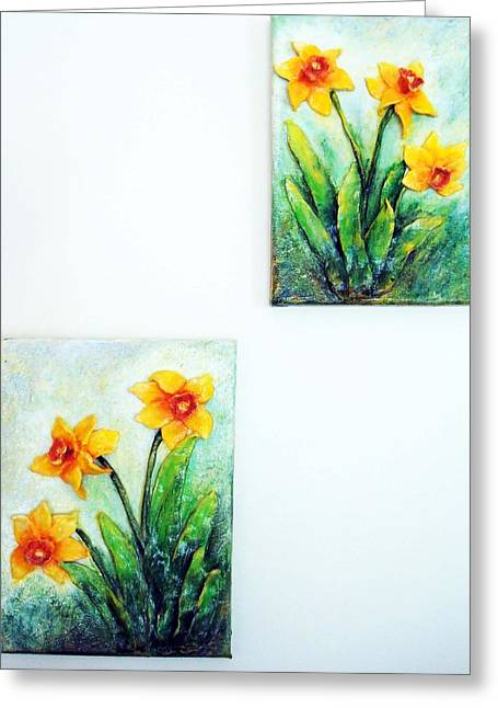 Bright Sculptures Greeting Cards - Spring is Here Greeting Card by Raya Finkelson