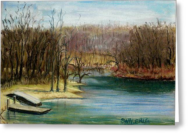 Docked Boat Pastels Greeting Cards - Spring is Here? Greeting Card by Tim  Swagerle