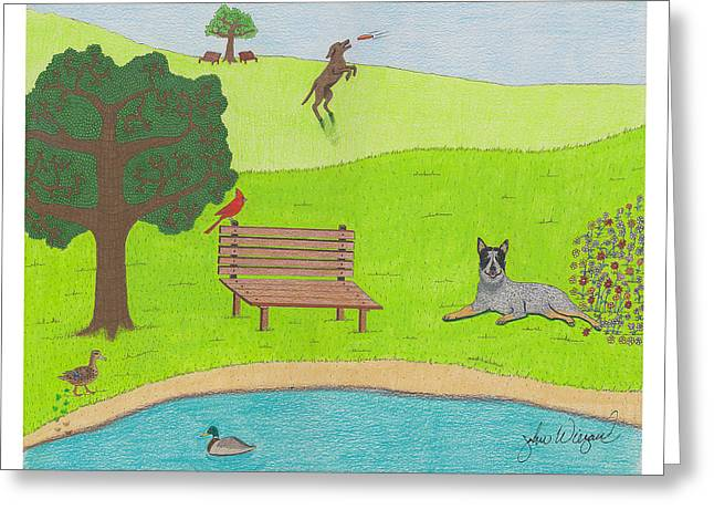 Park Benches Drawings Greeting Cards - Spring Is In The Air Greeting Card by John Wiegand