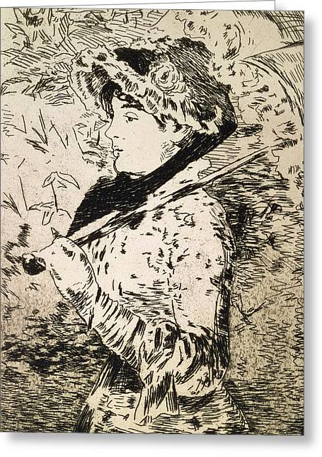 Female Portrait Greeting Cards - Spring   Jeanne Greeting Card by Edouard Manet