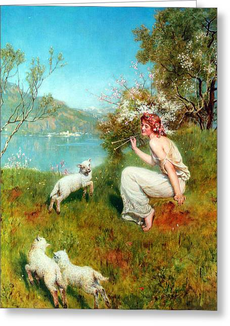 Religious Art Digital Art Greeting Cards - Spring Greeting Card by John Collier