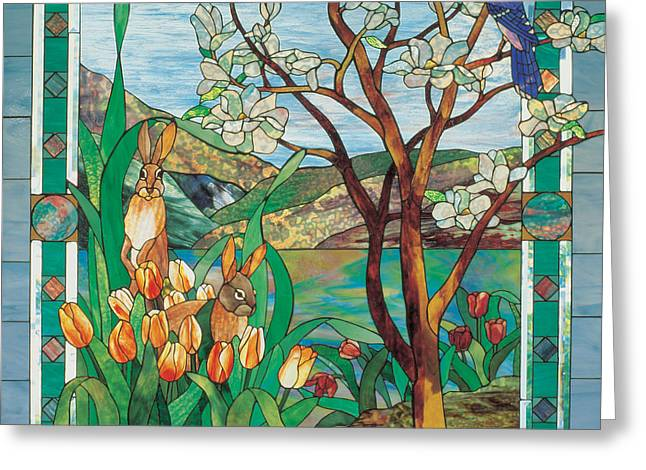 Landscape Glass Greeting Cards - Spring Greeting Card by John Emery