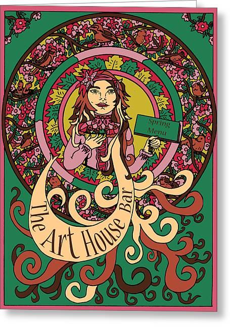 Menu Illustrations Greeting Cards - Spring Greeting Card by Karen Elzinga