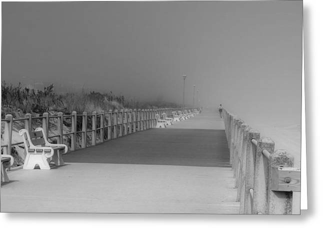 Best Sellers -  - Foggy Beach Greeting Cards - Spring Lake Boardwalk - Jersey Shore Greeting Card by Angie Tirado
