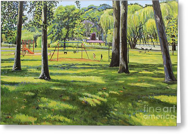 Bukowski Greeting Cards - Spring Lake Playground Greeting Card by William Bukowski