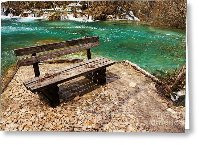 Flood Pyrography Greeting Cards - Spring lake with wooden bench Greeting Card by Victor Georgiev