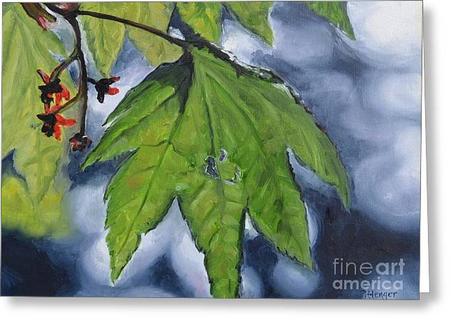 Interior Still Life Paintings Greeting Cards - Spring Leaf Greeting Card by Lori Pittenger