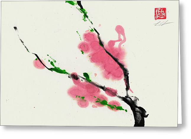 Sumie Greeting Cards - Spring  Greeting Card by Lilith Ohan
