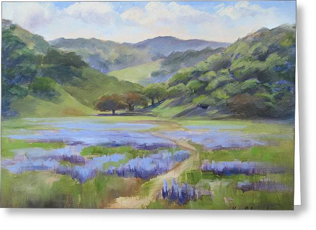 Spring Lupine Greeting Card by Karin  Leonard