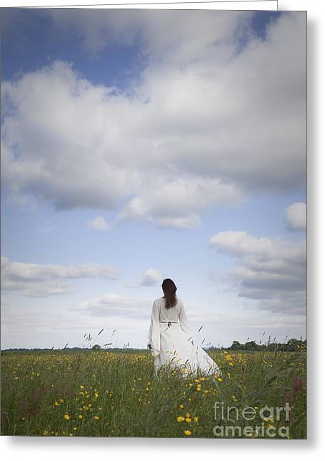Woman In Summer Meadow Greeting Cards - Spring Greeting Card by Maria Heyens